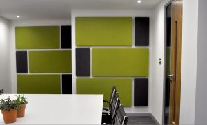Soft acoustic panels in a boardroom