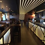 Lightweight Feature Beams - MaxiBeams-Finished-In-Walnut-In-North London-Bar -3