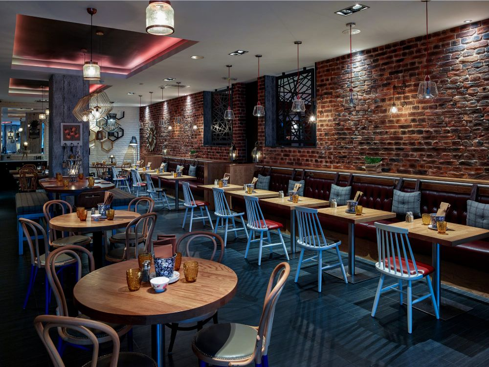 Interesting brick restaurant interior design