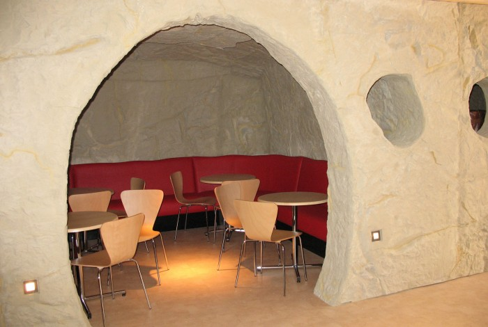 Canyon stone wall panels in party caves for a safari park