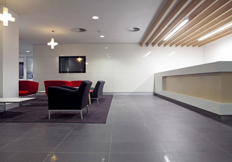 Reception area with Maxibeam feature ceiling