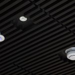 Vtec Acoustic Timber Slat ceiling Supaslat 4 integrated lighting and smoke detector