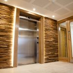 Vtec Stacked Timber Brown Panel - Residential Development Lobby Design -1