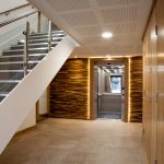 Vtec Stacked Timber Brown Panel - Residential Development Lobby Design -2