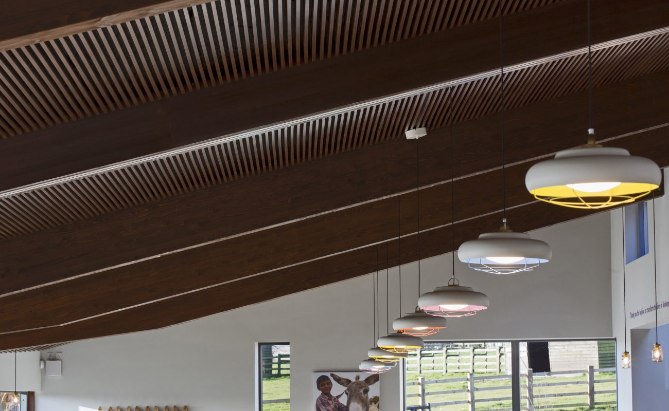 Timber slat ceiling at a charity headquarters, using Vtec's SupaSlat range