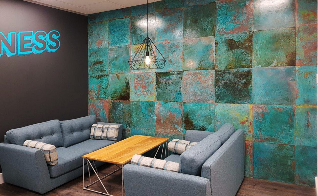 Metal Wall Panels - Feature wall in Vtec Metal Verdigris Brass