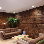 Vtec Weathered Sleeper Timber Wall Panel- office reception 1