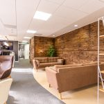 Vtec Weathered Sleeper Timber Wall Panel- office reception 2