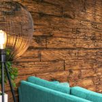 Vtec Weathered Sleeper Timber Wall Panel- office reception 3