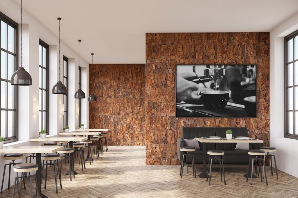Vtec Cork Forest Bark in a cafe - cork wall panels