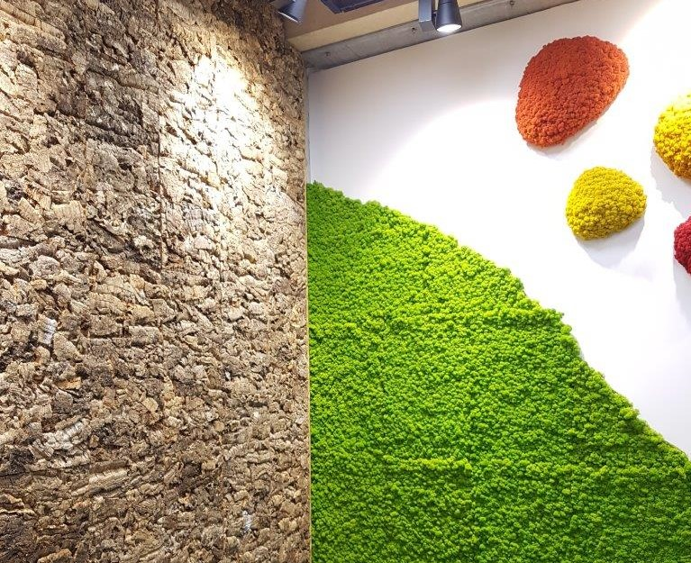 Vtec Cork wall tiles and preserved Moss wall panels at Clerkenwell Design Week 2019