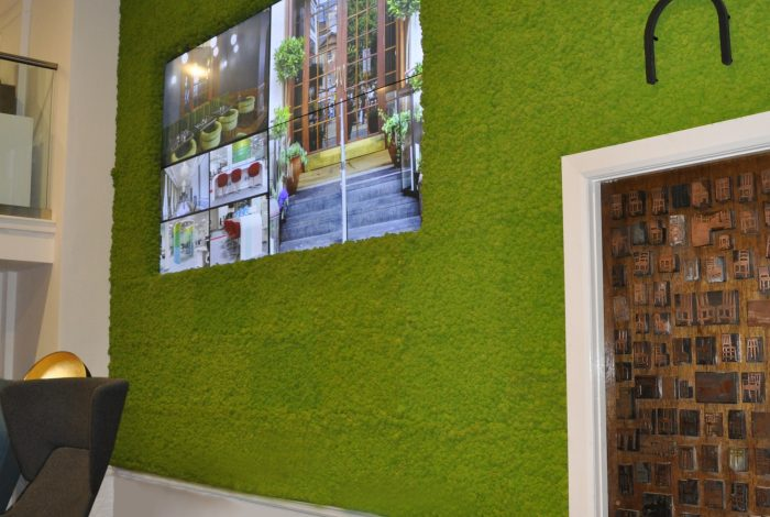 Arctic Moss Wall Tiles in May Green at a Showroom