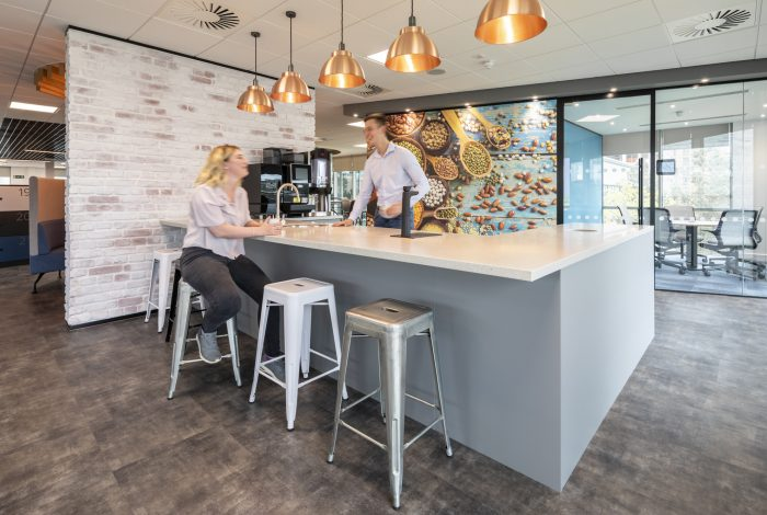 Vtec London Brick Distressed White Wall Panels in an Office Kitchen Area