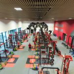 Vtec personalised Acoustic Timber Slatted Ceiling Supaslat 5 in a Gym -9
