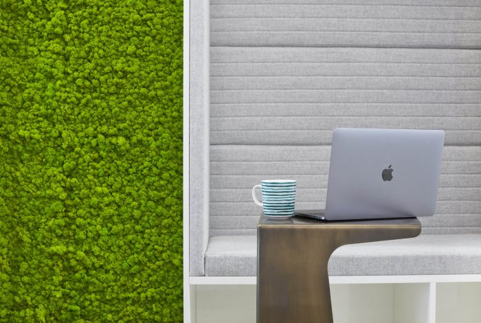 Arctic Moss Wall Tiles in May Green - Acoustic Wall Covering in an Office Breakout Area