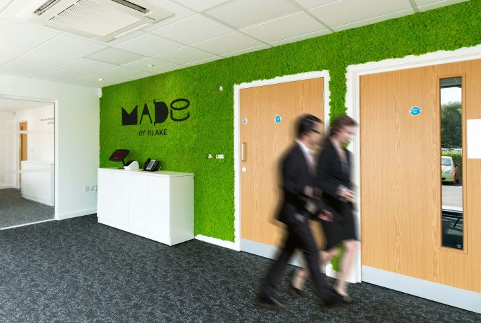 Arctic Moss Wall Panels in May Green for Blake Office Reception