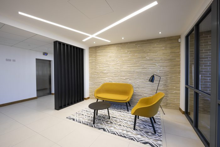Strip Stone Wall Panels in a New Office